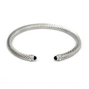 DAVID YURMAN 5mm Cable Cuff with Onyx & Diamond